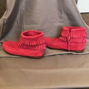 Kids double fringe side zip boot